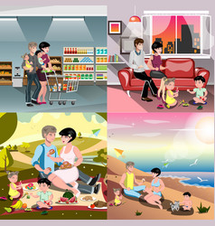 Set of family situations vector