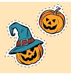 Set of stickers Halloween evil pumpkin vector image vector image