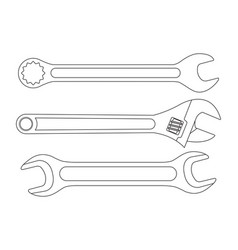 set of wrenches white outline icons vector image