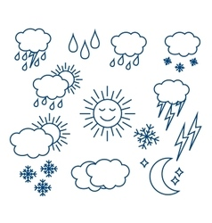 Set thin and clean outline weather icons vector image vector image