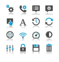 Setting icons reflection vector image vector image