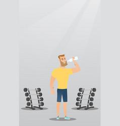 Sportsman drinking water vector