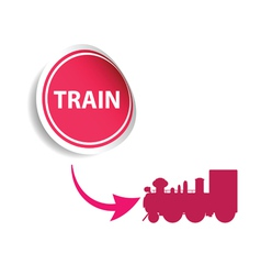 sticker train pink vector image vector image