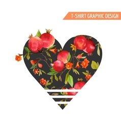 Tropical flowers and leaves pomegranate fruits vector