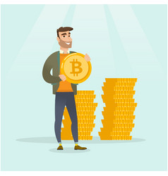 young successful businessman with bitcoin coin vector image