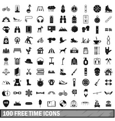 100 free time icons set simple style vector