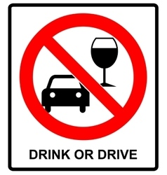 don t drink and drive sign vector image