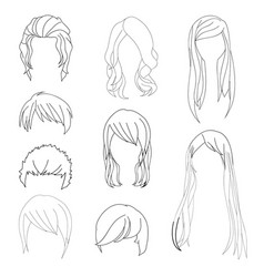 hairstyle man and woman line1 vector image