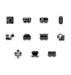 Railway freight black glyph style icons vector