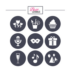 party celebration birthday icons cocktail vector image