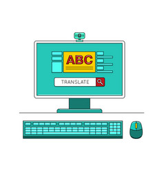 Online learn language concept with computer vector