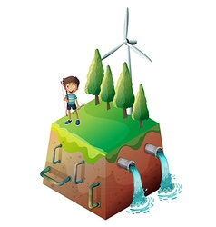 A boy holding a bow at the top of the drainage vector image