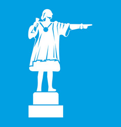 Columbus monument icon white vector