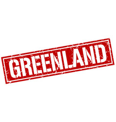 Greenland red square stamp vector