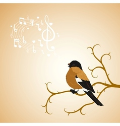 Winter bullfinch bird tweets on a tree branch vector