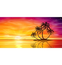 Sunset Sunrise with Palm Tree vector image
