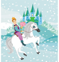 Prince riding a horse to the princess on a winter vector