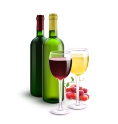 Red and white wines vector