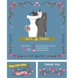 Wedding invitation with wedding dressfloral decor vector