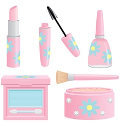 Assorted pretty pink cosmetics collection vector