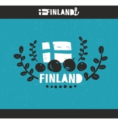 Cool emblem of finland with hand drawn image in vector