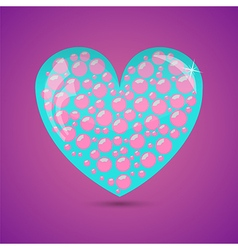 Glass turquoise heart vector