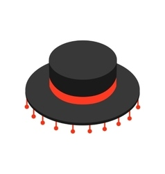 Black sombrero hat icon isometric 3d style vector