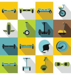 Balancing scooter icons set flat style vector