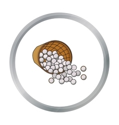 Basket with golf balls icon in cartoon style vector image