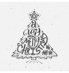 Black and white vintage poster Merry Christmas vector image vector image