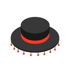 Black sombrero hat icon isometric 3d style vector