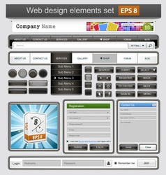 Black web design elements set vector image vector image