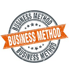 Business method round grunge ribbon stamp vector