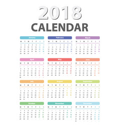 Calendar for 2018 starts monday calendar vector