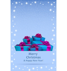 Christmas greeting card with gift boxes vector