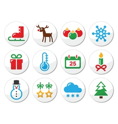 Christmas winter colorful icons set as round label vector