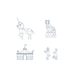 Circus line art icons vector