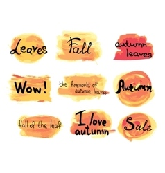Collection of hand drawn autumn labels on vector image vector image