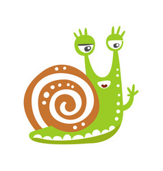 cute snail character waving its hand funny vector image