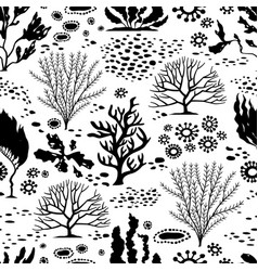 Doodle seamless cartoon underwater background vector