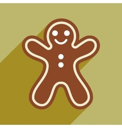 Flat icon with long shadow christmas honey-cake vector