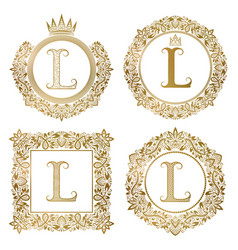 Golden letter l vintage monograms set heraldic vector