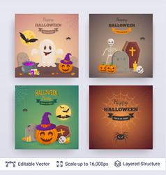Halloween party posters set vector
