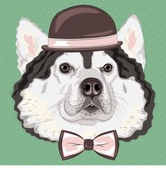 hipster dog Alaskan Malamute vector image