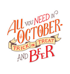 lettering quote about october lettering vector image