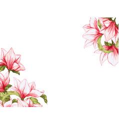 Magnolia flower festive elegant card vector