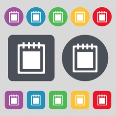 Notepad icon sign A set of 12 colored buttons Flat vector image vector image