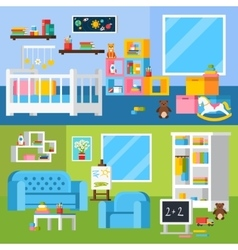 Nursery room cartoon horizontal banners vector