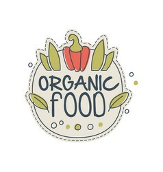 organic food logo template design badge for vector image vector image