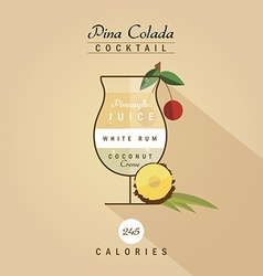 Pina colada cocktail vector